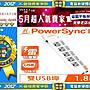【35年連鎖老店】PowerSync 六開五插防雷擊...