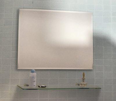 DIY水電材料 清鏡附除霧 化妝鏡 鏡子60X45附玻璃平台-白色平台夾