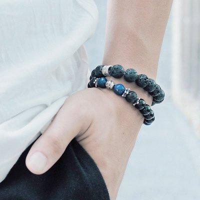 STRIVING::黑- 天然礦石 / 火山岩 / 青金岩 /黑瑪瑙 / 鍍銀 /手鍊手環禮物客製設計