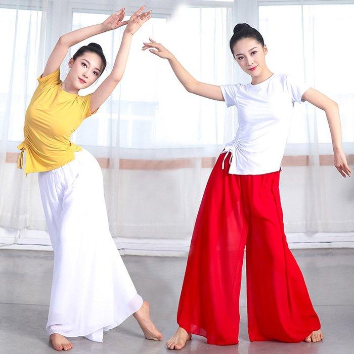 芭蕾裙 舞蹈服 表演服 瑜伽服 莫代爾雪紡褲燈籠褲居家練功考級舞蹈服裝大喇叭褲短袖抽繩