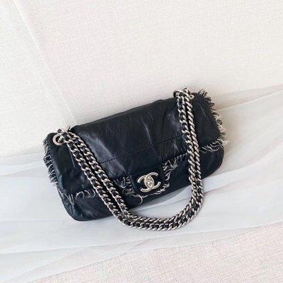 售出💕💕香奈兒vintage Chanel黑銀cf單肩斜挎包(夢露🇰🇷🇯🇵現貨實拍)