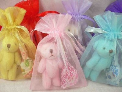 粉彩小熊囍糖袋.含棒糖&雪紗袋*10/180元+粉彩熊和粉彩兔+拐杖糖*10/170元+彩色小熊手機吊飾含糖*20/32