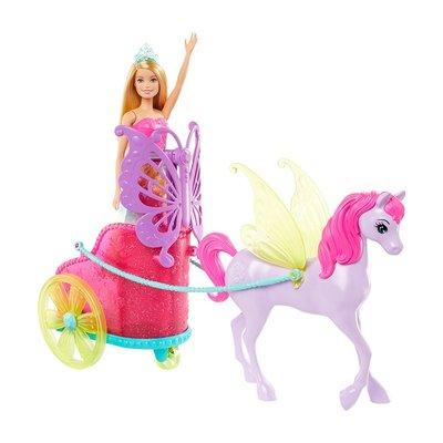 過家家玩具芭比娃娃Barbie芭比娃娃套裝公主與夢幻馬車換裝衣服玩具兒童禮物GJK53