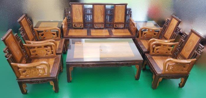 台中二手家具 推薦 宏品原木傢俱賣場 A30503*紫檀柚木8件式組椅*木頭沙發含茶几矮桌/客廳桌椅 電視櫃餐桌椅書桌