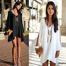 〔靚衫〕歐風米蘭.寬鬆洋裝.上衣.孕婦裝.沙灘服(白/黑/粉紅4012)全館現貨