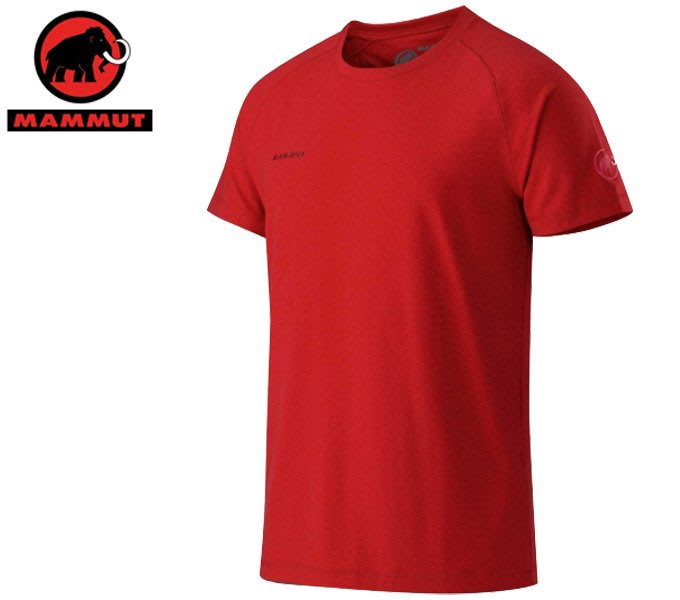 丹大戶外【MAMMUT】瑞士長毛象 Mica T-Shirt 男排汗彈性短袖舒適短T 1041-04770-3225 紅