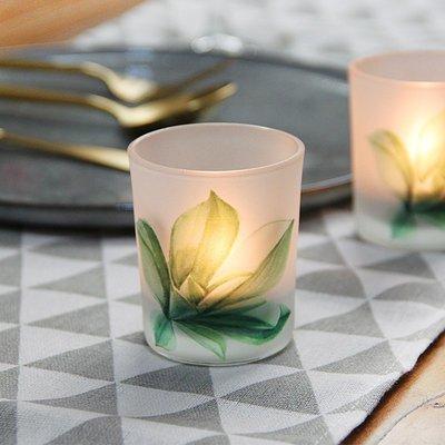熱銷#北歐綠植印花玻璃小燭臺浪漫燭光裝飾擺設DIY香薫蠟燭空杯送電蠟#燭臺#裝飾