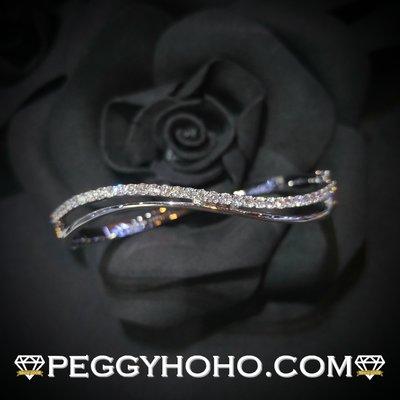 【Peggyhoho】全新18K白金87份真鑽石手鈪 bangle|CTF出品| 靚石靚款