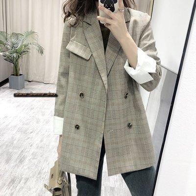 英倫風格子長版 氣質西裝外套++六月晴天++