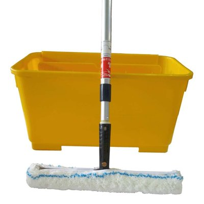 防滑地板工具《防滑大師》35cm清潔兔毛刷組+清潔桶+2米2節鋁合金伸縮桿