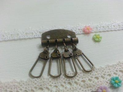 【小芒果】手作材料/4勾鑰匙排-古銅色/四排鑰匙扣/手作鑰匙圈材料