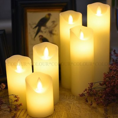 LED【4件組合包】直徑5.3cm 光面斜口搖擺 電子蠟燭燈 生日創意 浪漫求婚氣氛※ COLOUR歐洲生活家居 ※