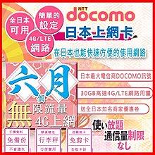 *日本好好玩 超商免運費*半年 6個月 日本上網卡 30GB高速用量 4G 吃到飽 送行李秤 日本docomo sim卡