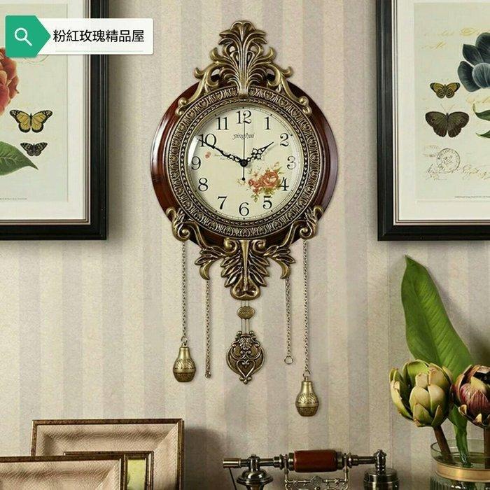 粉紅玫瑰精品屋~歐式古典復古實木玫瑰掛鐘~