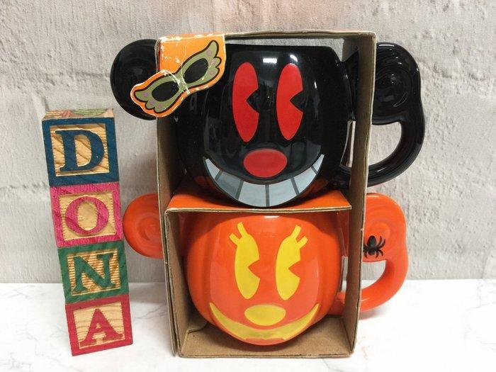 【Dona日貨】日本迪士尼樂園限定 萬聖節米老鼠米奇米妮南瓜吸血鬼 馬克杯/杯子/水杯(1組2入) C17
