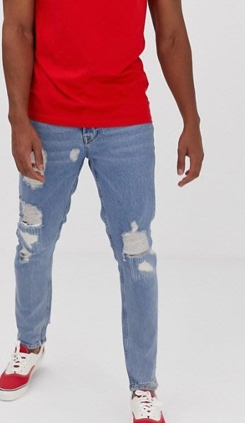 ◎美國代買◎ASOS仿舊藍刷色刷破褲管老爺褲型復古英倫時尚街風淺藍刷色刷破牛仔褲~歐美街風~大尺碼