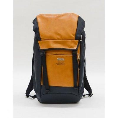 MSPC Master-piece yellow-NAVY薑黃色真皮革多功能電腦夾層潮牌絕版後背包-日本購入