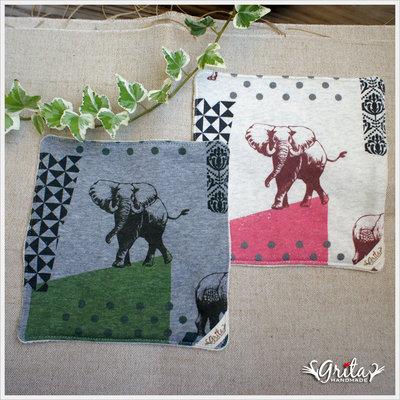 ♥grita's handmade♥日本進口針織棉布手帕/方巾/口水巾-大象(現貨)