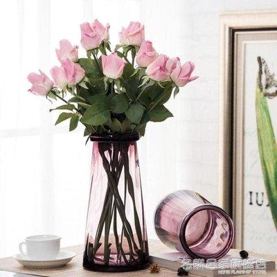 哆啦本鋪 琉光玻璃花瓶透明水培花瓶客廳復古文藝北歐風創意乾花插花花瓶 D655