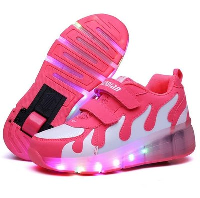 新款帶燈LED暴走鞋發光輪子鞋自動款輪滑鞋男女兒童溜冰鞋