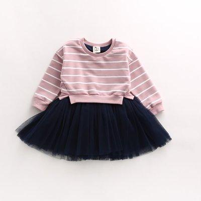 女童純棉簡約粉紅條紋網紗洋裝公主裙兒童...
