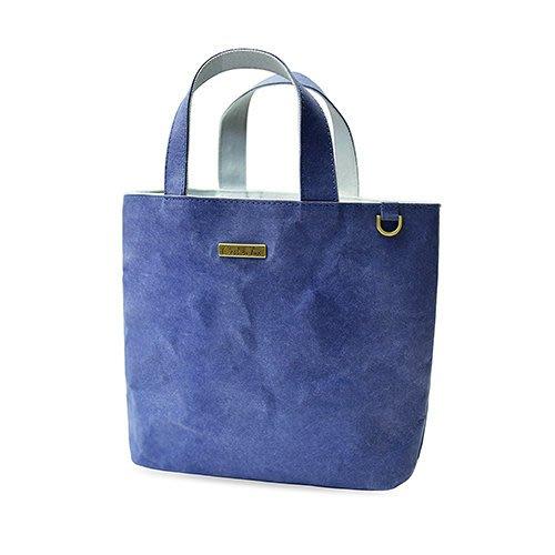 C'est Si Bon|【現貨。免運】洗舊皮革紙小托特包/散步包-丹寧藍 盒裝