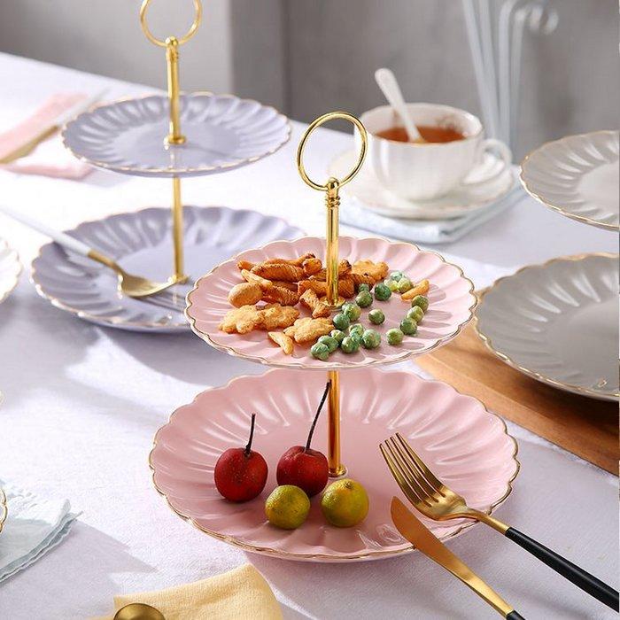 英式皇家陶瓷點心盤 歐式居家馬卡龍色下午茶蛋糕盤子_☆優購好SoGood☆