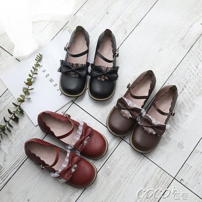 娃娃鞋 可愛日繫蕾絲花邊茶會鞋低跟圓頭娃娃鞋學生鞋