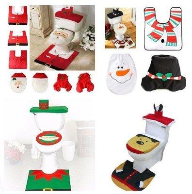 現貨實拍圖聖誕老人馬桶套 聖誕老公公馬桶蓋+腳墊+水箱蓋+紙巾套 交換禮物 生日禮物#聖誕