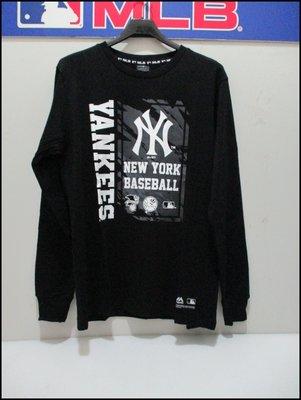 【喬治城】2019秋冬 MLB majestic 洋基 印花長袖圓領T恤 正品公司貨 黑色 6960104-900