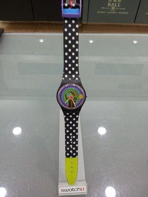 [永達利鐘錶 ] swatch 黑色點點藝術膠帶錶 GB242 原廠公司保固24個月 35mm