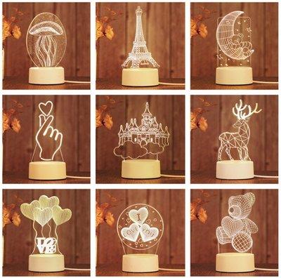 現貨夜市爆款創意禮品3D小夜燈led裝...