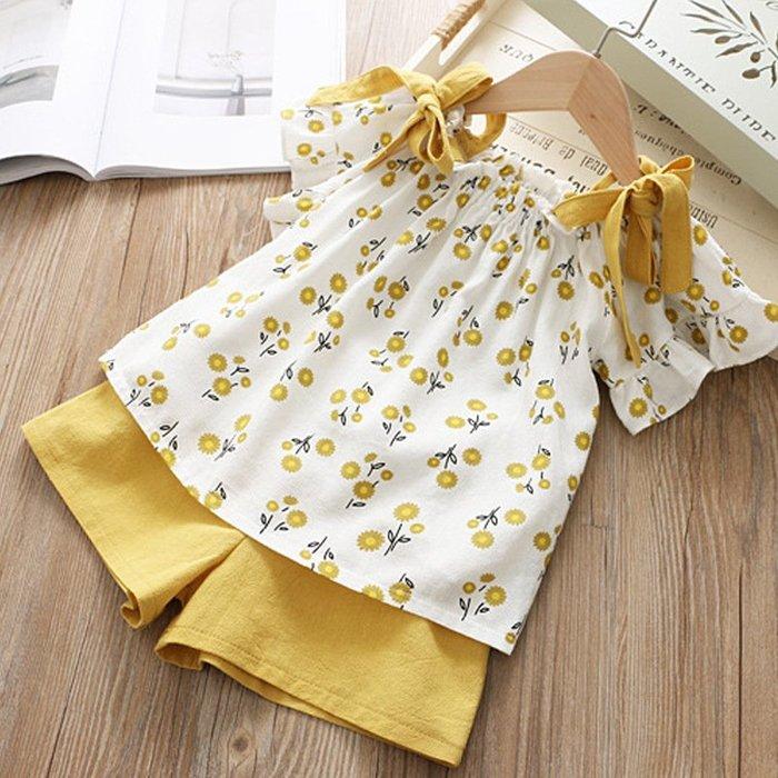•*~ 辣媽咪衣飾小舖 ~*•❤童裝系列❤K050173韓版兒童夏款甜美可愛小清新吊帶碎花上衣+短褲二件套