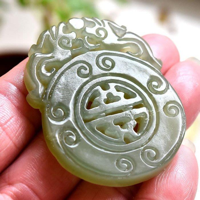 天地 藝品 天然 新疆 和闐 玉 仔料 溫潤 明顯 蘿蔔絲 雙面 婁雕 ( 招財 雙 貔貅 ) 珠鍊 大 玉珮 K898