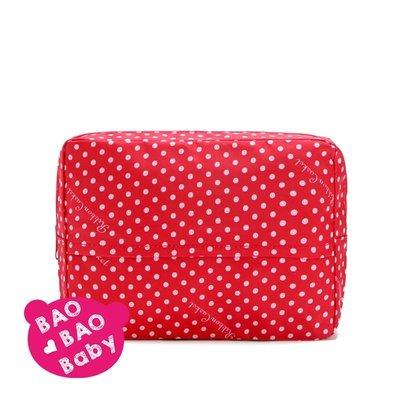 ((BAOBAOBABY~寶貝日雜包))日本Ribbon Casket特大容量點點紅色化妝包 收納包 盥洗包 旅行包 收