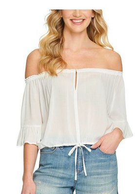 DKNY Jeans Ruffled Off-the-Shoulder Top
