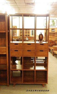 柚木中六抽12格開放式書櫃.展示櫃
