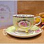 英式碎花玫瑰綠色金邊花茶杯 一杯一盤 杯盤...