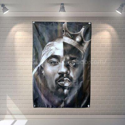 【AMAS】-東西海岸嘻哈教父 The Notorious B.I.G與2PAC 裝飾掛布掛旗酒吧#【標價為最小號售價】
