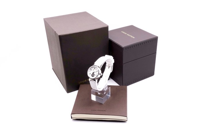【台中青蘋果】LV TAMBOUR LOVELY系列刻度鑲鑽原花壓紋錶帶精鋼女仕腕錶 Q12M00 #23793