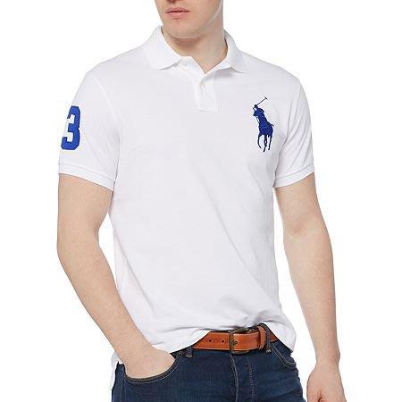 美國百分百【全新真品】Ralph Lauren Polo衫 RL 大馬 短袖 網眼 上衣 休閒衫 白色 寶藍馬 B004