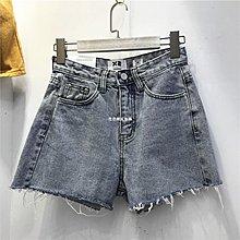 發發潮流服飾韓國X2 夏季新款ins高腰百搭洗水做舊破口袋毛邊短褲牛仔褲chic女