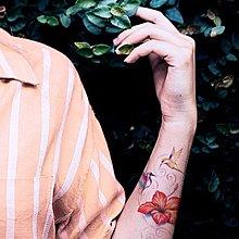 【萌古屋】扶桑花與蜂鳥 - 男女防水紋身貼紙刺青貼紙FC-109 K02