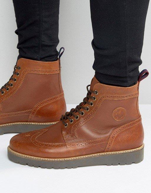 ◎美國代買◎ASOS代買FredPerry龐克鞋底搭配雕花鞋面高腰鞋帶款雕花高筒靴~歐美街風~大尺碼