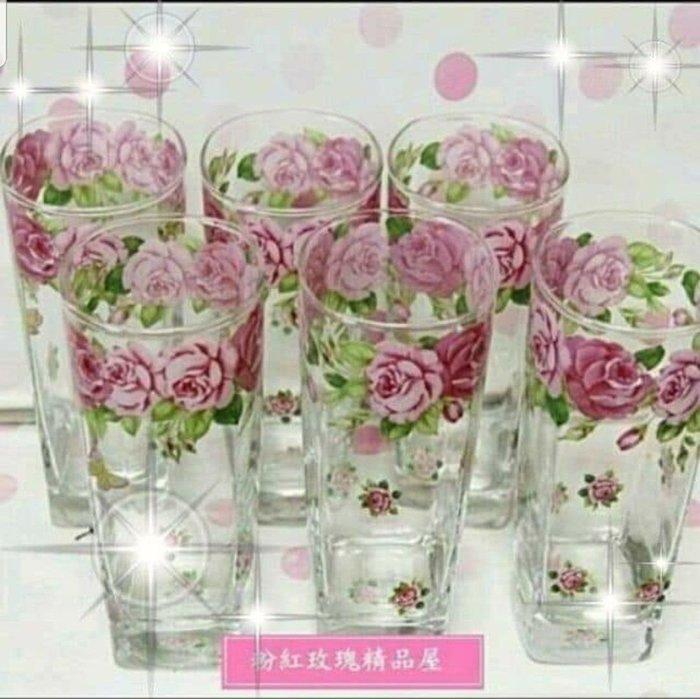 粉紅玫瑰精品屋~韓國玫瑰花玻璃杯 啤酒杯 飲料杯 果汁杯~