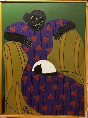 梁奕焚 貓與黑美人 60號 油畫 2014 (台灣畫家、野獸派、現代畫、現代畫派、藝術、裝飾)