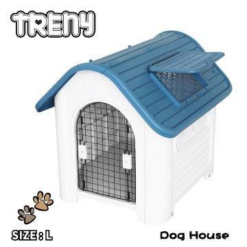 【TRENY直營】TRENY 塑膠狗屋-大款-藍 狗屋 狗籠 貓屋 寵物的家 天窗 通風 419-B