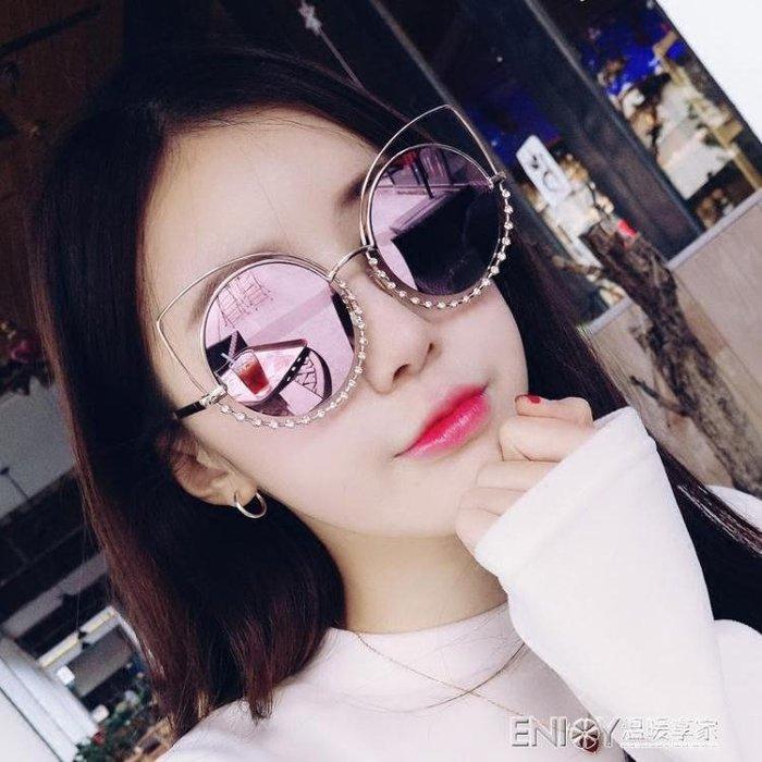 明星款手工鑲鑚太陽鏡女2018新款潮貓眼復古圓臉大框墨鏡個性眼鏡 尚美優品