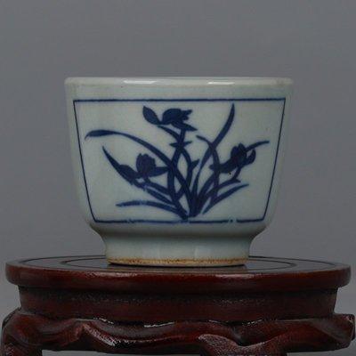 ㊣三顧茅廬㊣  大明萬曆青花蘭花詩文紋茶杯品茗杯主人杯個性特色創意   瓷器杯
