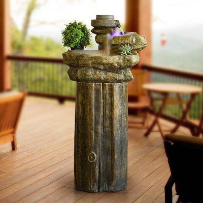 假山流水噴泉田園擺件家居客廳石磨輪子面落地裝飾品創意水景魚缸小豬佩奇
